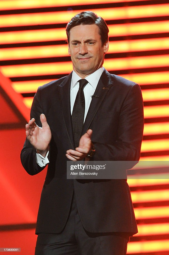 Host <a gi-track='captionPersonalityLinkClicked' href=/galleries/search?phrase=Jon+Hamm&family=editorial&specificpeople=3027367 ng-click='$event.stopPropagation()'>Jon Hamm</a> speaks onstage at attends the 2013 ESPY Awards at Nokia Theatre L.A. Live on July 17, 2013 in Los Angeles, California.