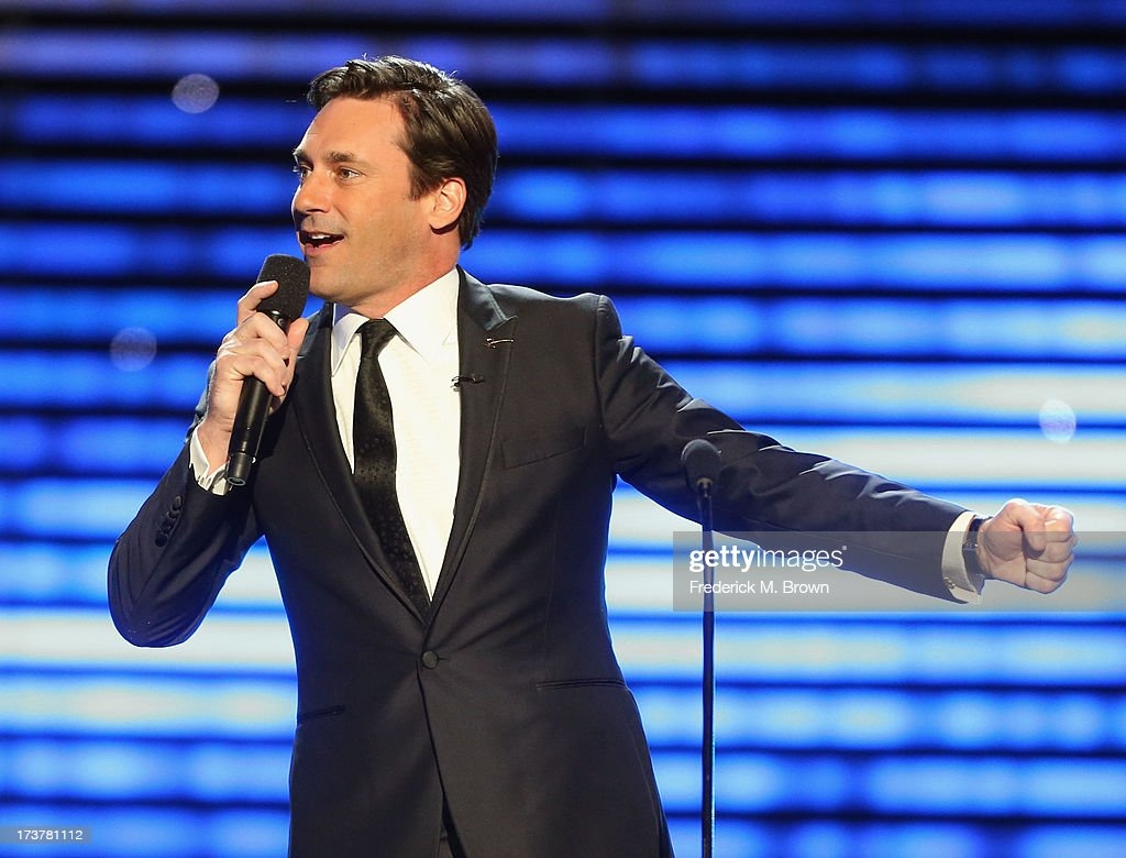 Host <a gi-track='captionPersonalityLinkClicked' href=/galleries/search?phrase=Jon+Hamm&family=editorial&specificpeople=3027367 ng-click='$event.stopPropagation()'>Jon Hamm</a> speaks onstage at The 2013 ESPY Awards at Nokia Theatre L.A. Live on July 17, 2013 in Los Angeles, California.