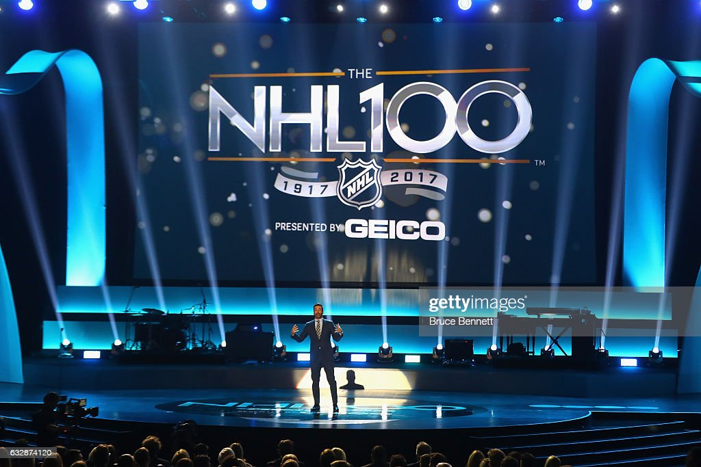 Host Jon Hamm speaks onstage during the NHL 100 presented by GEICO Show as part of the 2017 NHL All-Star Weekend at the Microsoft Theater on January 27, 2017 in Los Angeles, California.