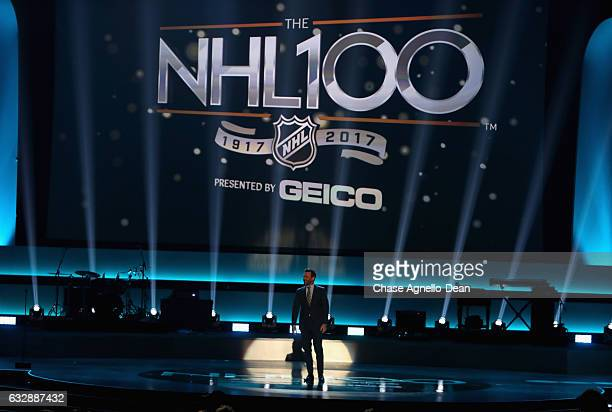 Host Jon Hamm speaks onstage during the NHL 100 presented by GEICO show as part of the 2017 NHL AllStar Weekend at the Microsoft Theater on January...