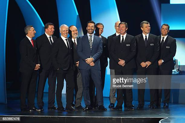 Host Jon Hamm stands on stage with former NHL player Wayne Gretzky during the NHL 100 presented by GEICO Show as part of the 2017 NHL AllStar Weekend...