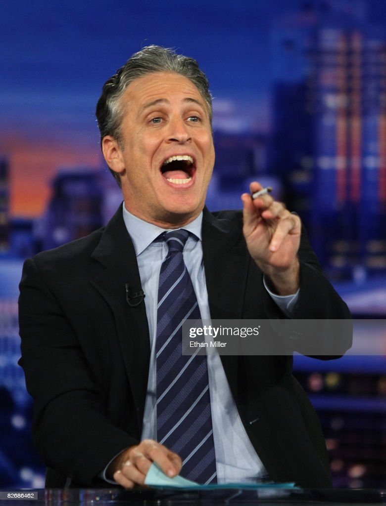 Host <a gi-track='captionPersonalityLinkClicked' href=/galleries/search?phrase=Jon+Stewart+-+Political+Satirist&family=editorial&specificpeople=202151 ng-click='$event.stopPropagation()'>Jon Stewart</a> of Comedy Central's 'The Daily Show with <a gi-track='captionPersonalityLinkClicked' href=/galleries/search?phrase=Jon+Stewart+-+Political+Satirist&family=editorial&specificpeople=202151 ng-click='$event.stopPropagation()'>Jon Stewart</a>' tapes 'The Daily Show with <a gi-track='captionPersonalityLinkClicked' href=/galleries/search?phrase=Jon+Stewart+-+Political+Satirist&family=editorial&specificpeople=202151 ng-click='$event.stopPropagation()'>Jon Stewart</a>: Restoring Honor & Dignity to the White House' at the McNally Smith College of Music September 5, 2008 in St. Paul, Minnesota. The show is being taped in St. Paul during the week of the Republican National Convention.