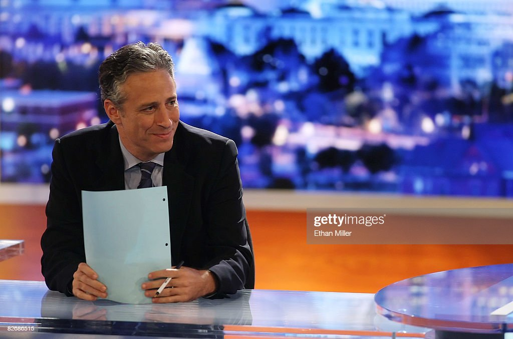 Host Jon Stewart of Comedy Central's 'The Daily Show with Jon Stewart' watches a video while taping 'The Daily Show with Jon Stewart: Restoring Honor & Dignity to the White House' at the McNally Smith College of Music September 5, 2008 in St. Paul, Minnesota. The show is being taped in St. Paul during the week of the Republican National Convention.