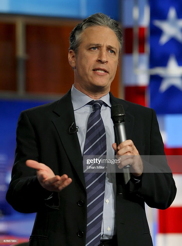 Host <a gi-track='captionPersonalityLinkClicked' href=/galleries/search?phrase=Jon+Stewart+-+Political+Satirist&family=editorial&specificpeople=202151 ng-click='$event.stopPropagation()'>Jon Stewart</a> of Comedy Central's 'The Daily Show with <a gi-track='captionPersonalityLinkClicked' href=/galleries/search?phrase=Jon+Stewart+-+Political+Satirist&family=editorial&specificpeople=202151 ng-click='$event.stopPropagation()'>Jon Stewart</a>' talks to the audience before taping 'The Daily Show with <a gi-track='captionPersonalityLinkClicked' href=/galleries/search?phrase=Jon+Stewart+-+Political+Satirist&family=editorial&specificpeople=202151 ng-click='$event.stopPropagation()'>Jon Stewart</a>: Restoring Honor & Dignity to the White House' at the McNally Smith College of Music September 5, 2008 in St. Paul, Minnesota. The show is being taped in St. Paul during the week of the Republican National Convention.