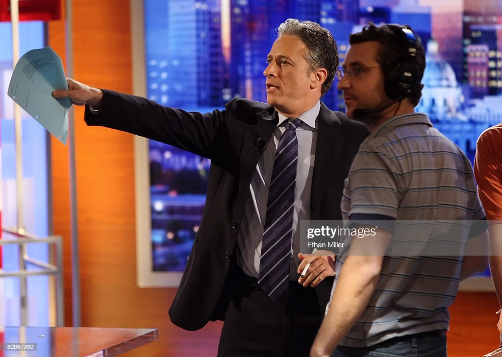 Host <a gi-track='captionPersonalityLinkClicked' href=/galleries/search?phrase=Jon+Stewart+-+Political+Satirist&family=editorial&specificpeople=202151 ng-click='$event.stopPropagation()'>Jon Stewart</a> (L) of Comedy Central's 'The Daily Show with <a gi-track='captionPersonalityLinkClicked' href=/galleries/search?phrase=Jon+Stewart+-+Political+Satirist&family=editorial&specificpeople=202151 ng-click='$event.stopPropagation()'>Jon Stewart</a>' talks with co-executive producer Rory Albanese during a taping of 'The Daily Show with <a gi-track='captionPersonalityLinkClicked' href=/galleries/search?phrase=Jon+Stewart+-+Political+Satirist&family=editorial&specificpeople=202151 ng-click='$event.stopPropagation()'>Jon Stewart</a>: Restoring Honor & Dignity to the White House' at the McNally Smith College of Music September 5, 2008 in St. Paul, Minnesota. The show is being taped in St. Paul during the week of the Republican National Convention.