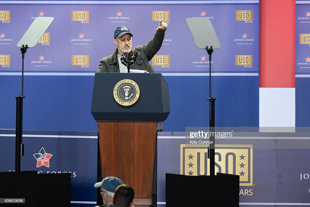 Host <a gi-track='captionPersonalityLinkClicked' href=/galleries/search?phrase=Jon+Stewart&family=editorial&specificpeople=202151 ng-click='$event.stopPropagation()'>Jon Stewart</a> speaks during the 75th Anniversary USO Show at Joint Base Andrews on May 5, 2016 in Camp Springs, Md.