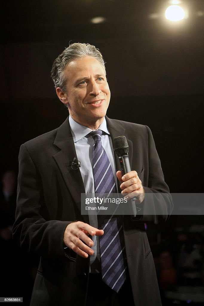 Host <a gi-track='captionPersonalityLinkClicked' href=/galleries/search?phrase=Jon+Stewart+-+Political+Satirist&family=editorial&specificpeople=202151 ng-click='$event.stopPropagation()'>Jon Stewart</a> talks to the audience before taping Comedy Central's 'The Daily Show with <a gi-track='captionPersonalityLinkClicked' href=/galleries/search?phrase=Jon+Stewart+-+Political+Satirist&family=editorial&specificpeople=202151 ng-click='$event.stopPropagation()'>Jon Stewart</a>: Restoring Honor & Dignity to the White House' at the McNally Smith College of Music September 5, 2008 in St. Paul, Minnesota. The show is being taped in St. Paul during the week of the Republican National Convention.