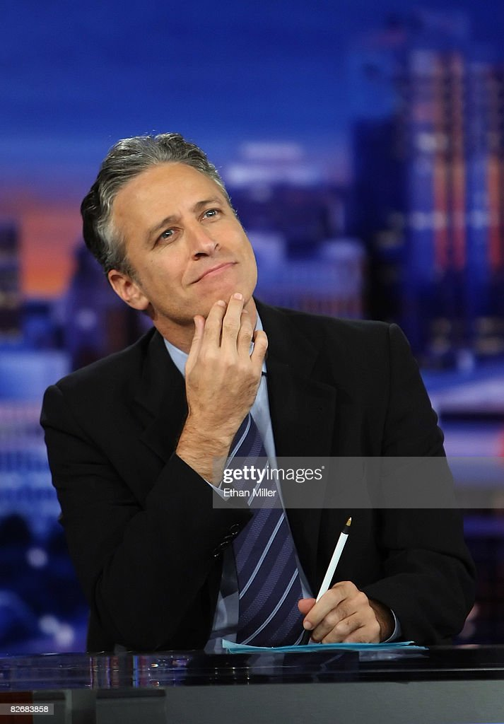 Host <a gi-track='captionPersonalityLinkClicked' href=/galleries/search?phrase=Jon+Stewart+-+Political+Satirist&family=editorial&specificpeople=202151 ng-click='$event.stopPropagation()'>Jon Stewart</a> tapes Comedy Central's 'The Daily Show with <a gi-track='captionPersonalityLinkClicked' href=/galleries/search?phrase=Jon+Stewart+-+Political+Satirist&family=editorial&specificpeople=202151 ng-click='$event.stopPropagation()'>Jon Stewart</a>: Restoring Honor & Dignity to the White House' at the McNally Smith College of Music September 5, 2008 in St. Paul, Minnesota. The show is being taped in St. Paul during the week of the Republican National Convention.