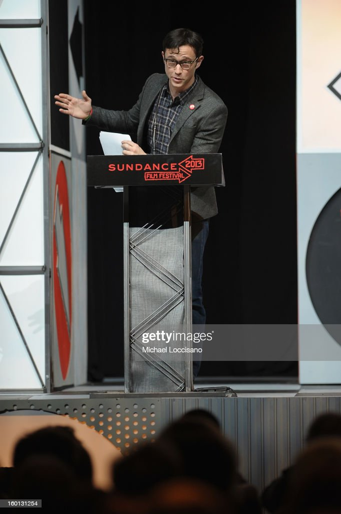 Host <a gi-track='captionPersonalityLinkClicked' href=/galleries/search?phrase=Joseph+Gordon-Levitt&family=editorial&specificpeople=213632 ng-click='$event.stopPropagation()'>Joseph Gordon-Levitt</a> speaks at the Awards Night Ceremony during the 2013 Sundance Film Festival at Basin Recreation Field House on January 26, 2013 in Park City, Utah.