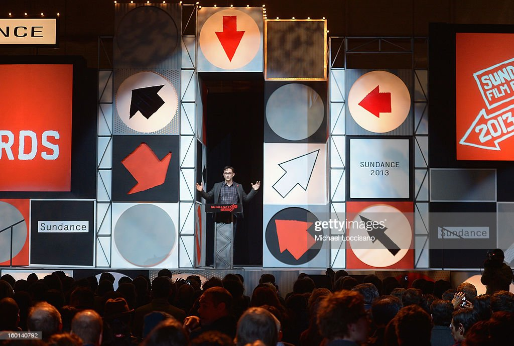 Host Joseph Gordon-Levitt speaks at the Awards Night Ceremony during the 2013 Sundance Film Festival at Basin Recreation Field House on January 26, 2013 in Park City, Utah.