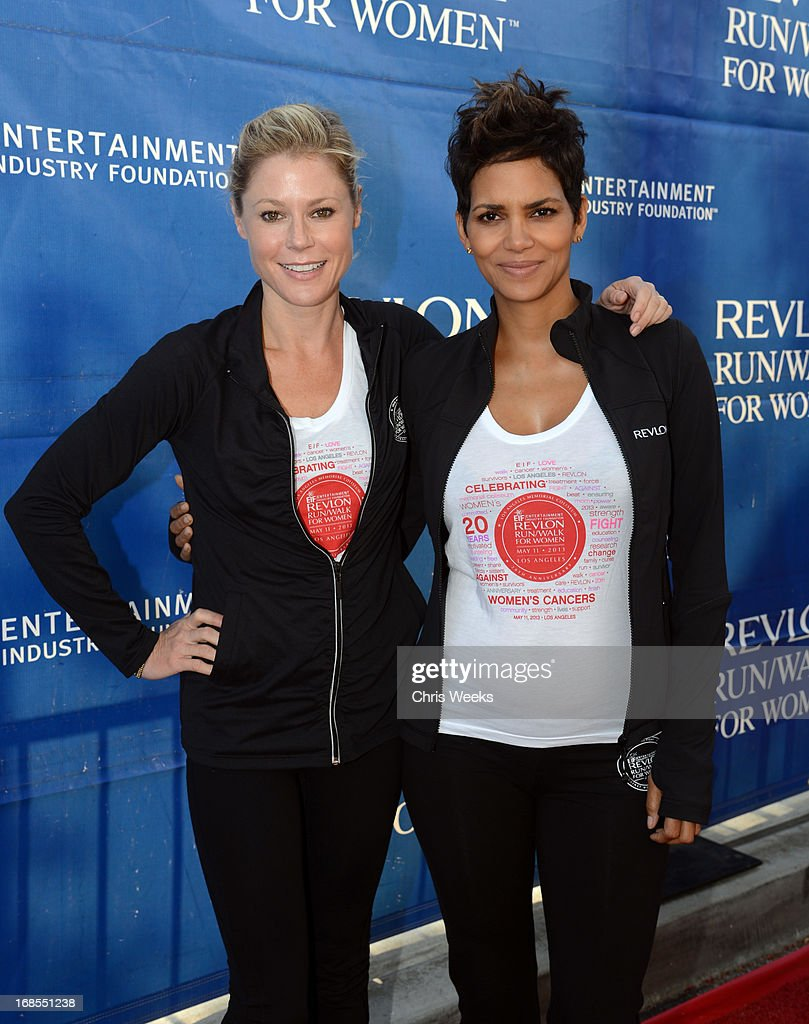 Host <a gi-track='captionPersonalityLinkClicked' href=/galleries/search?phrase=Julie+Bowen&family=editorial&specificpeople=244057 ng-click='$event.stopPropagation()'>Julie Bowen</a> (L) and Revlon brand ambassador <a gi-track='captionPersonalityLinkClicked' href=/galleries/search?phrase=Halle+Berry&family=editorial&specificpeople=201726 ng-click='$event.stopPropagation()'>Halle Berry</a> attend the 20th Annual EIF Revlon Run/Walk For Women at Los Angeles Memorial Coliseum on May 11, 2013 in Los Angeles, California.