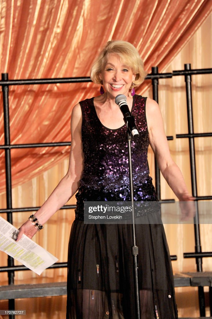 Host <a gi-track='captionPersonalityLinkClicked' href=/galleries/search?phrase=Julie+Halston&family=editorial&specificpeople=653379 ng-click='$event.stopPropagation()'>Julie Halston</a> speaks on stage at The Trevor Project's 2013 'TrevorLIVE' Event Honoring Cindy Hensley McCain at Chelsea Piers on June 17, 2013 in New York City.