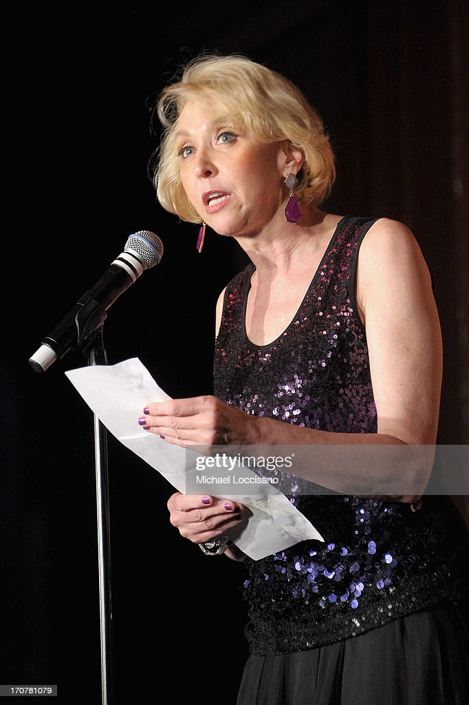 Host <a gi-track='captionPersonalityLinkClicked' href=/galleries/search?phrase=Julie+Halston&family=editorial&specificpeople=653379 ng-click='$event.stopPropagation()'>Julie Halston</a> speaks on stage at TrevorLIVE New York at Pier Sixty at Chelsea Piers on June 17, 2013 in New York City.
