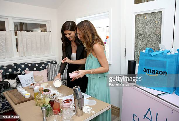 Host Katherine Schwarzenegger demos pizza making to guest Sydne Summer of Sydne Style during Katherine Schwarzenegger's Amazon Echo cooking class at...