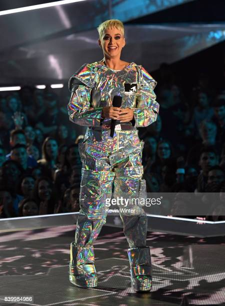 Host Katy Perry speaks onstage during the 2017 MTV Video Music Awards at The Forum on August 27 2017 in Inglewood California