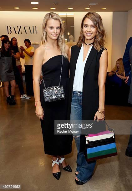 Host Kelly Sawyer and Jessica Alba attend Saks Fifth Avenue presents 'Harper's BAZAAR Models' with author Derek Blasberg at Saks Fifth Avenue on...
