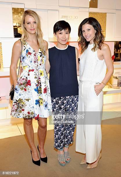 Host Kelly Sawyer Patricof Creative Director Jimmy Choo Sandra Choi and host Norah Weinstein attend Saks Fifth Avenue's Celebration of Jimmy Choo's...