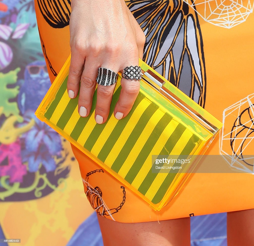 TV host Keltie Colleen (purse & ring detail) attends Nickelodeon's 27th Annual Kids' Choice Awards at USC Galen Center on March 29, 2014 in Los Angeles, California.