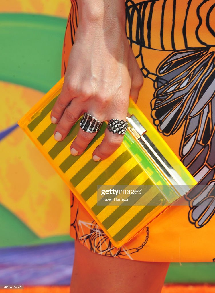 TV host Keltie Knight (handbag detail) attends Nickelodeon's 27th Annual Kids' Choice Awards held at USC Galen Center on March 29, 2014 in Los Angeles, California.