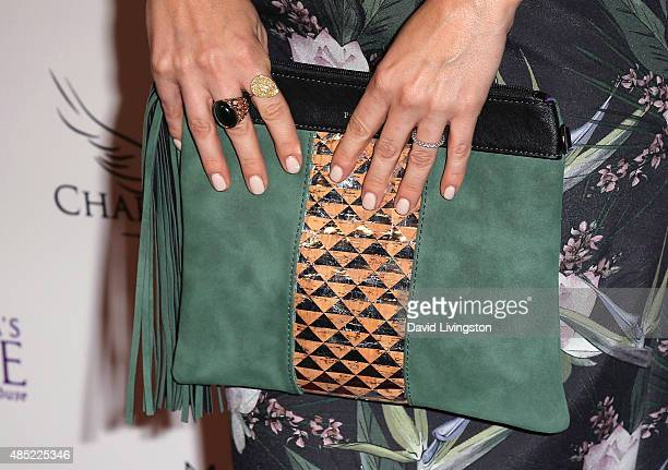 TV host Keltie Knight purse detail attends the BBQ and Bikinis Benefit hosted by Linda's Voice at Mr C Beverly Hills on August 25 2015 in Beverly...