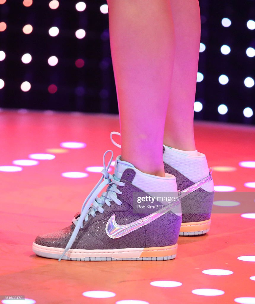Host Keshia Chante (shoe detail) at BET's 106 & Park at BET studios on July 1, 2014 in New York City.
