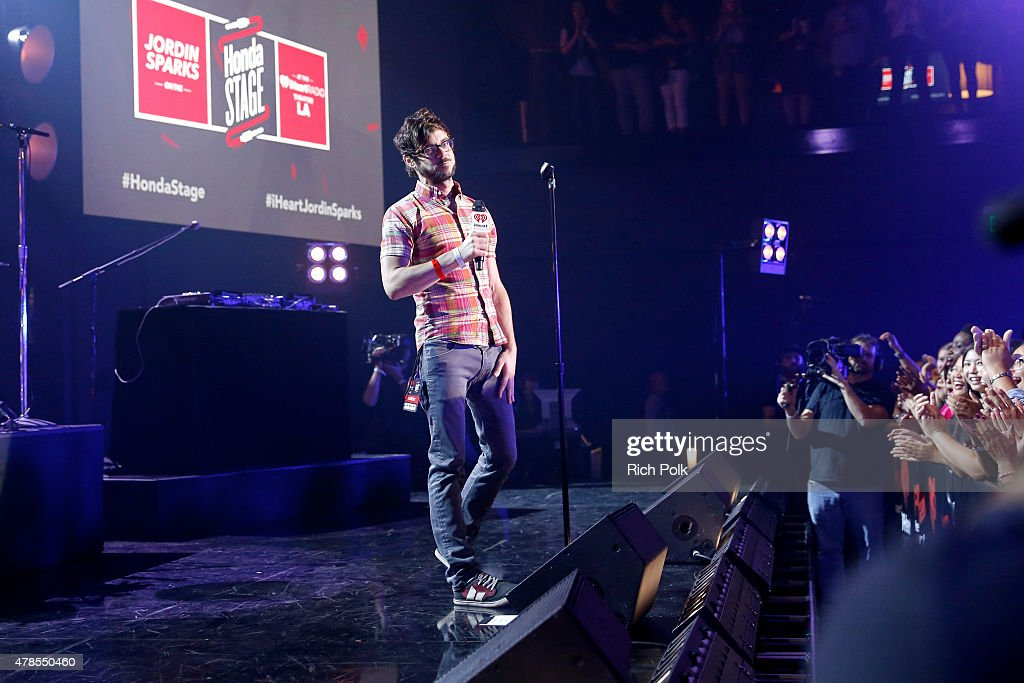 Host Kevin Manno introduces singer Jordin Sparks on the Honda Stage at the iHeartRadio Theater Los Angeles on June 25, 2015 in Burbank, California.