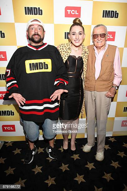 Host Kevin Smith actress Harley Quinn Smith and writer Stan Lee attend the IMDb Yacht Party Presented By TCL at on July 22 2016 in San Diego...