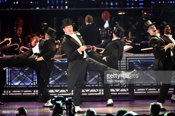 Host Kevin Spacey performs onstage during the 2017 Tony Awards at Radio City Music Hall on June 11 2017 in New York City