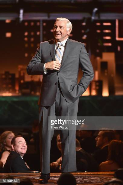 Host Kevin Spacey speaks onstage during the 2017 Tony Awards at Radio City Music Hall on June 11 2017 in New York City
