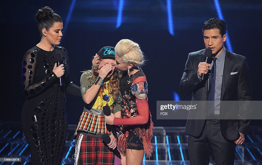 Host Khloe Kardashian Odom , contestant Beatrice Miller, contestant Cece Frey and host Mario Lopez onstage at FOX's 'The X Factor' Season 2 Top 10 to 8 Live Elimination Show on November 22, 2012 in Hollywood, California.