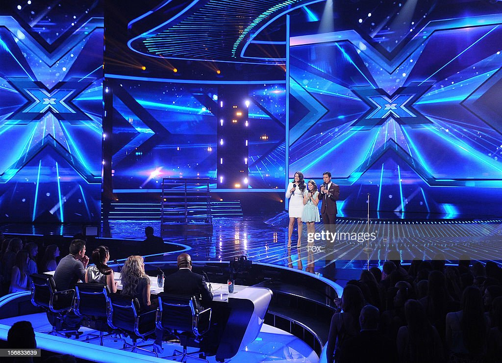 Host Khloe Kardashian Odom, contestant Carly Rose Sonenclar and host Mario Lopez with the top 10 contestants onstage at FOX's 'The X Factor' Season 2 Top 10 Live Performance Show on November 21, 2012 in Hollywood, California.