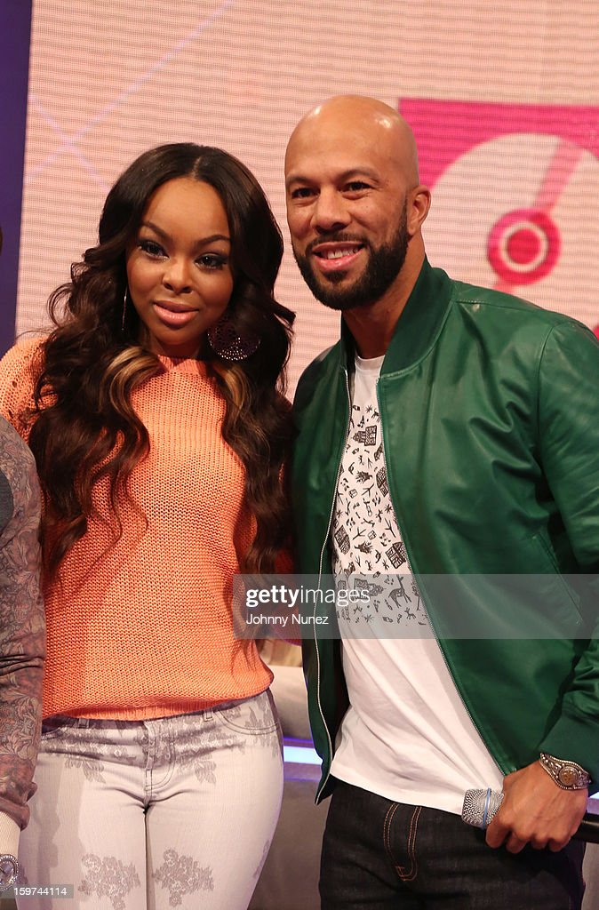 Host Kimberly 'Paigion' Walker and rapper/actor Common visit BET's '106 & Park' at 106 & Park Studio on January 18, 2013 in New York City.