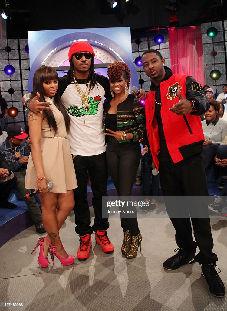 Host Kimberly 'Paigion' Walker, rapper Future, hosts <a gi-track='captionPersonalityLinkClicked' href=/galleries/search?phrase=Miss+Mykie&family=editorial&specificpeople=9784725 ng-click='$event.stopPropagation()'>Miss Mykie</a> and <a gi-track='captionPersonalityLinkClicked' href=/galleries/search?phrase=Shorty+Da+Prince&family=editorial&specificpeople=9784723 ng-click='$event.stopPropagation()'>Shorty Da Prince</a> attend 106 & Park Studio on December 3, 2012 in New York City.