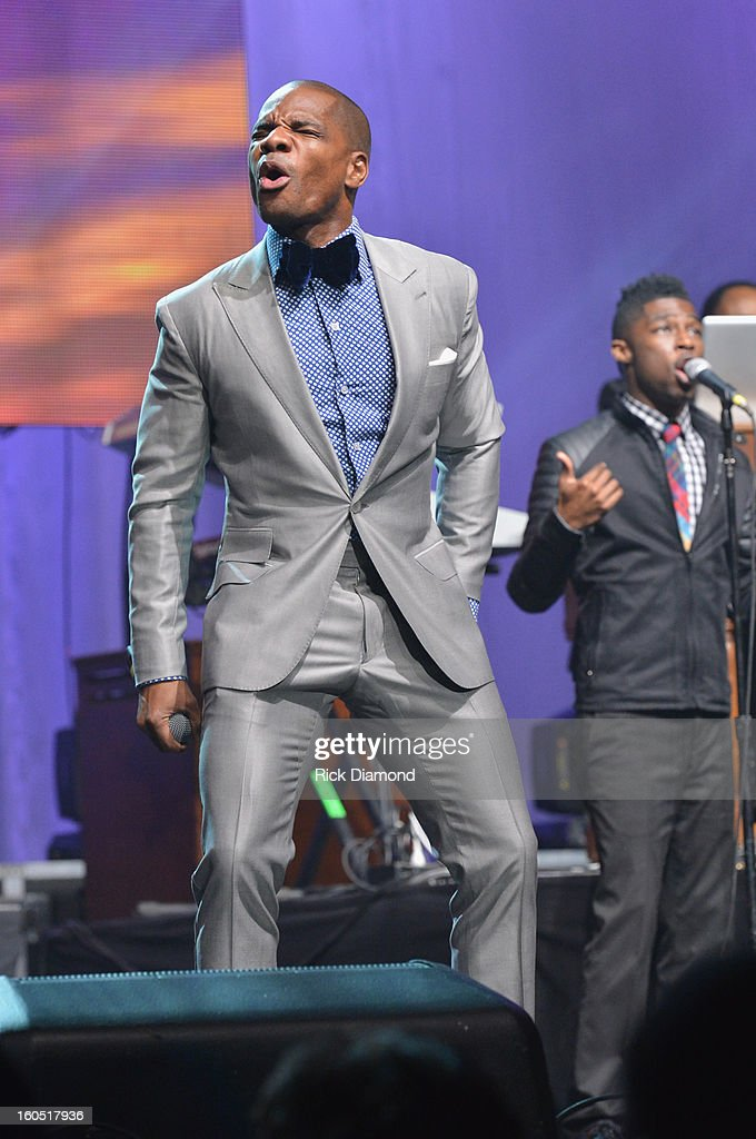 Host <a gi-track='captionPersonalityLinkClicked' href=/galleries/search?phrase=Kirk+Franklin&family=editorial&specificpeople=779291 ng-click='$event.stopPropagation()'>Kirk Franklin</a> performs during the Super Bowl Gospel 2013 Show at UNO Lakefront Arena on February 1, 2013 in New Orleans, Louisiana.