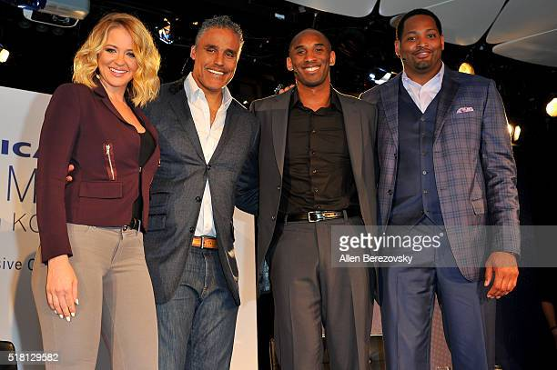 TV host Kristen Ledlow NBA players Rick Fox Kobe Bryant and Robert Horry pose onstage during the 'American Express Teamed Up with Kobe Bryant' event...