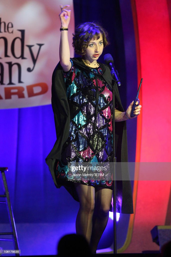 Host <a gi-track='captionPersonalityLinkClicked' href=/galleries/search?phrase=Kristen+Schaal&family=editorial&specificpeople=2479209 ng-click='$event.stopPropagation()'>Kristen Schaal</a> on stage during The <a gi-track='captionPersonalityLinkClicked' href=/galleries/search?phrase=Andy+Kaufman&family=editorial&specificpeople=587929 ng-click='$event.stopPropagation()'>Andy Kaufman</a> Award at HBO & AEG Live's 'The Comedy Festival' 2007 at Caesars Palace on November 16, 2007 in Las Vegas, Nevada.