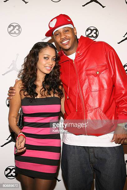 Host LaLa Vasquez and Carmello Anthony of the Denver Nuggets on the red carpet at the Jordan Brand House of 23 event celebrating the launch of Air...