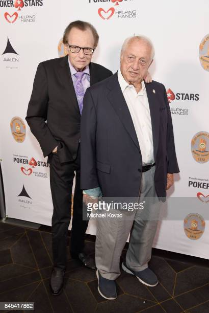 TV host Larry King and baseball Hall of Famer Tommy Lasorda at the Heroes for Heroes Los Angeles Police Memorial Foundation Celebrity Poker...