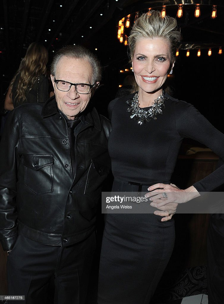 TV host Larry King and Shawn King attend the 1 OAK LA Grand Opening Weekend hosted by Jay Z and presented by D'usse on January 25, 2014 in Los Angeles, California.