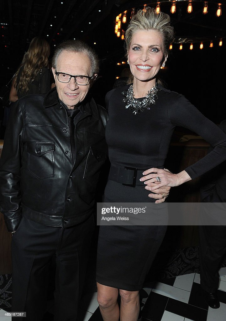 TV host <a gi-track='captionPersonalityLinkClicked' href=/galleries/search?phrase=Larry+King&family=editorial&specificpeople=202014 ng-click='$event.stopPropagation()'>Larry King</a> and Shawn King attend the 1 OAK LA Grand Opening Weekend hosted by Jay Z and presented by D'usse on January 25, 2014 in Los Angeles, California.