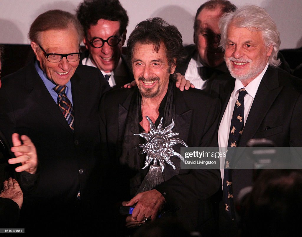 TV host <a gi-track='captionPersonalityLinkClicked' href=/galleries/search?phrase=Larry+King&family=editorial&specificpeople=202014 ng-click='$event.stopPropagation()'>Larry King</a>, producer <a gi-track='captionPersonalityLinkClicked' href=/galleries/search?phrase=Mark+Canton&family=editorial&specificpeople=239116 ng-click='$event.stopPropagation()'>Mark Canton</a>, actor and Jack Valenti - L.A. Italia Legend Award honoree <a gi-track='captionPersonalityLinkClicked' href=/galleries/search?phrase=Al+Pacino&family=editorial&specificpeople=202658 ng-click='$event.stopPropagation()'>Al Pacino</a>, L.A. Italia Film Festival founder Pascal Vicedomini and actor <a gi-track='captionPersonalityLinkClicked' href=/galleries/search?phrase=Michele+Placido&family=editorial&specificpeople=676316 ng-click='$event.stopPropagation()'>Michele Placido</a> attend the 8th Annual Los Angeles Italia Film, Fashion and Art Festival Opening Night Gala at the Mann Chinese 6 on February 17, 2013 in Los Angeles, California.