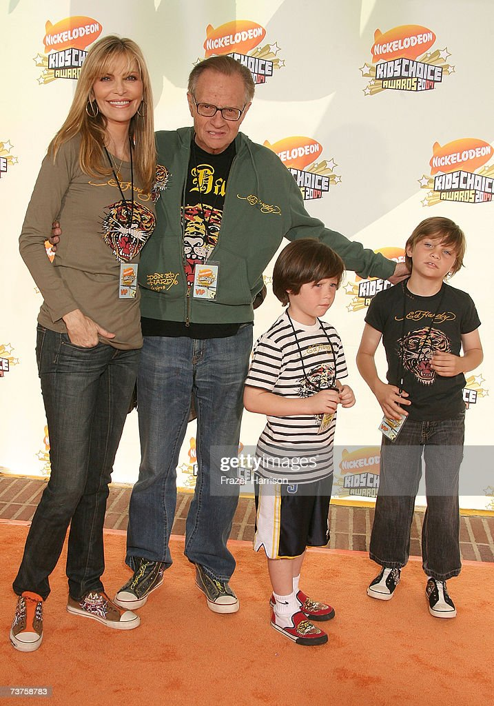 V host Larry King wife Shawn Southwick and children arrive at the 20th Annual Kid's Choice Awards held at the UCLA Pauley Pavilion on March 31 2007...