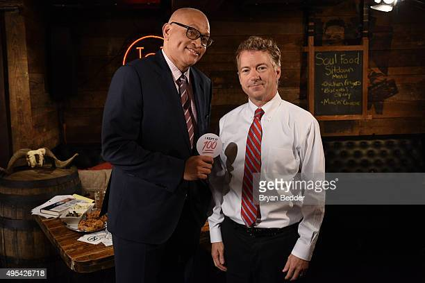 Host Larry Wilmore speaks with Republican candidate Senator Rand Paul on Comedy Central's 'The Nightly Show With Larry Wilmore' Soul Food Sit Down on...