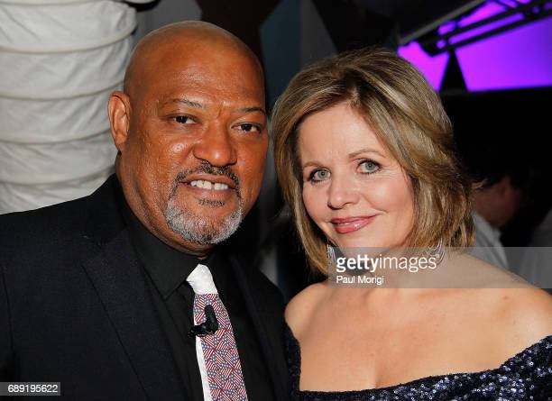 Host Laurence Fishburne and Grammy Awardwinning classical music artist Renee Fleming backstage at PBS' 2017 National Memorial Day Concert Rehearsals...