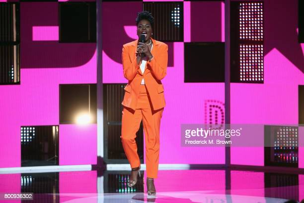 Host Leslie Jones speaks onstage at 2017 BET Awards at Microsoft Theater on June 25 2017 in Los Angeles California