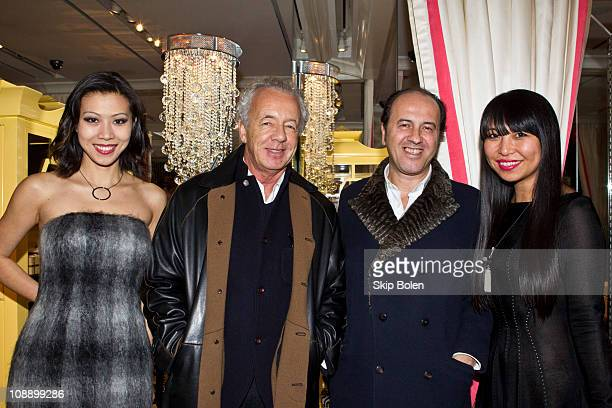 TV host Li Jing fashion photographer Gilles Bensimon publisher Prosper Assouline and AHAlife Founder and CEO Shauna Mei attends the AHA Life Jewelry...