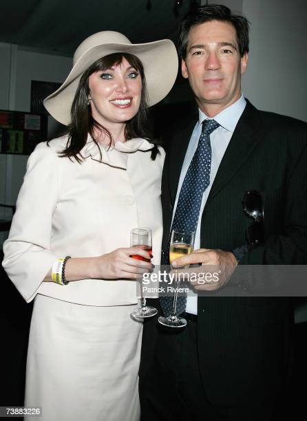 TV host Lisa Oldfield and her husband politician David Oldfield attend the Emirates marquee during the Schweppes Sydney Cup Day the final day of the...