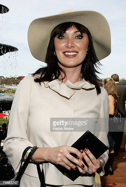 TV host Lisa Oldfield attends the Emirates marquee during the Schweppes Sydney Cup Day the final day of the 4day Easter Racing Carnival at Randwick...