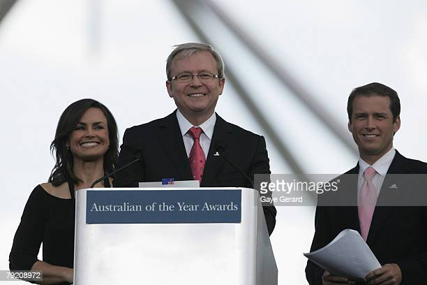 Host Lisa Wilkinson Prime Minister Kevin Rudd and TV Host Karl Stefanovic speak during the 2007 Australian Of The Year Awards on the Lawns of...
