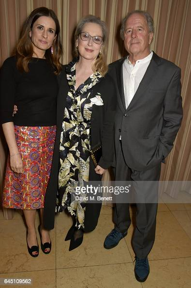 Host Livia Firth actress Meryl Streep and sculptor Don Gummer attend a dinner to celebrate The GCC and The Journey To Sustainable Luxury on February...
